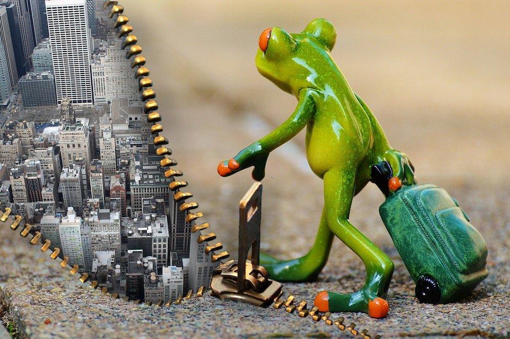 Eine Froschfigur mit einem Reisekoffer vor einem geöffneten Reisverschluss. Hinter dem Reisverschluss sieht man eine Großstadt.