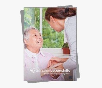 """Titelseite der Broschüre """"Eine neue berufliche perspektive"""" der SeniorenLebenshilfe"""